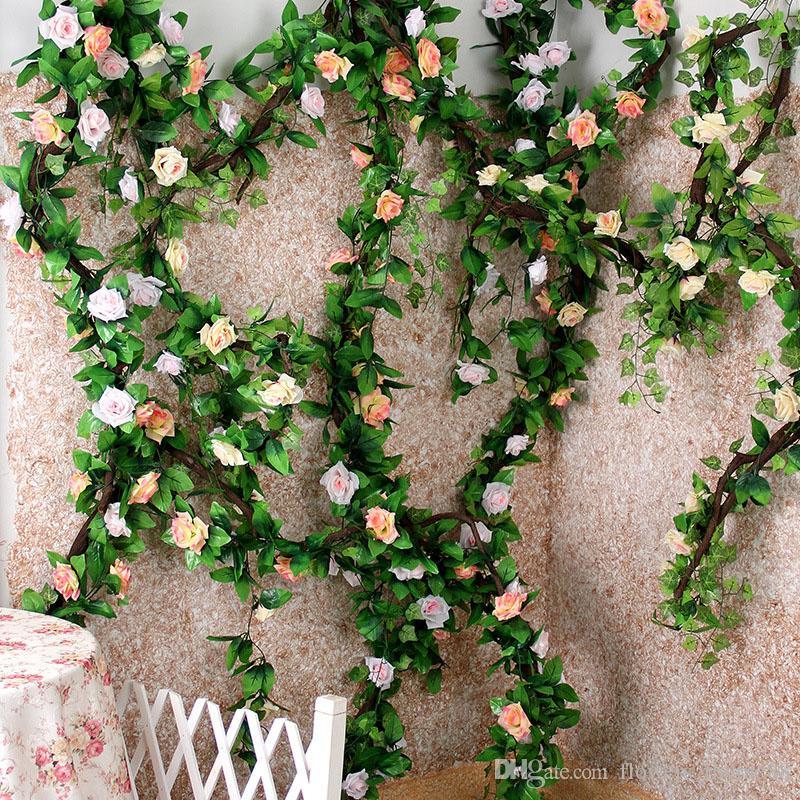 Decoração de casamento Flores Artificiais flor de seda parede falsa Rose Ivy Vine grinalda rattan Para Casa jardim Decoração Guirlanda Pendurada Decoração Rattan