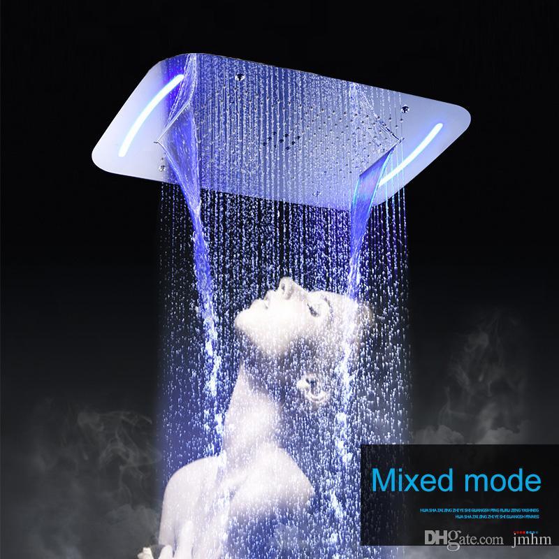 고급스러운 멀티 기능 LED 샤워 헤드 4 가지 방법 강우량 폭포 스프레이 비 커튼 광택 표면