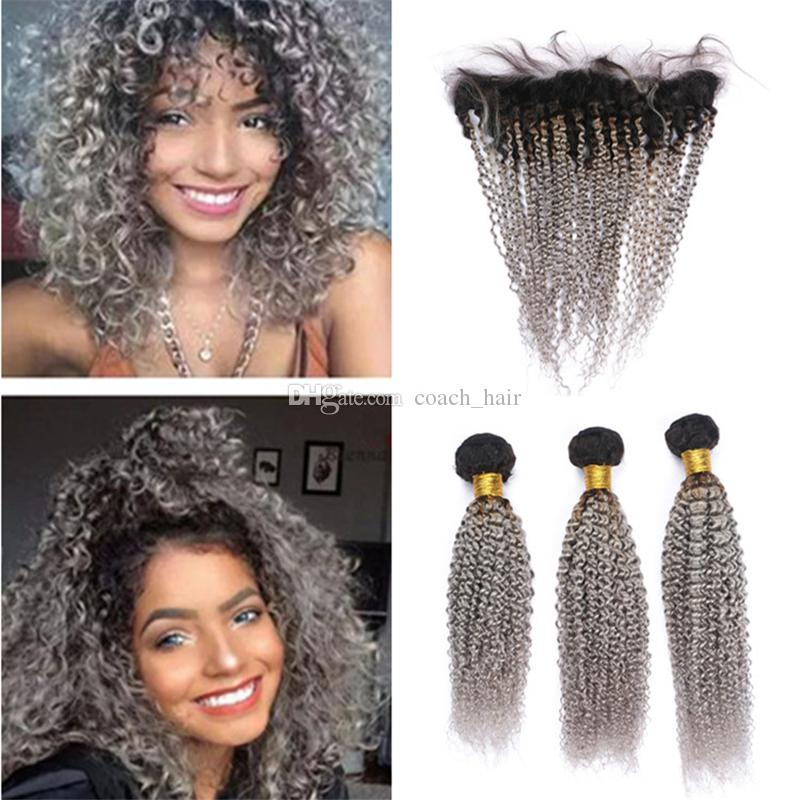 Ombre Gray Virgin Malaysian Kinky Curly Hair Bundles with Lace Frontal Closure Dark Roots 1B/Grey Ombre Human Hair Weave and Frontal