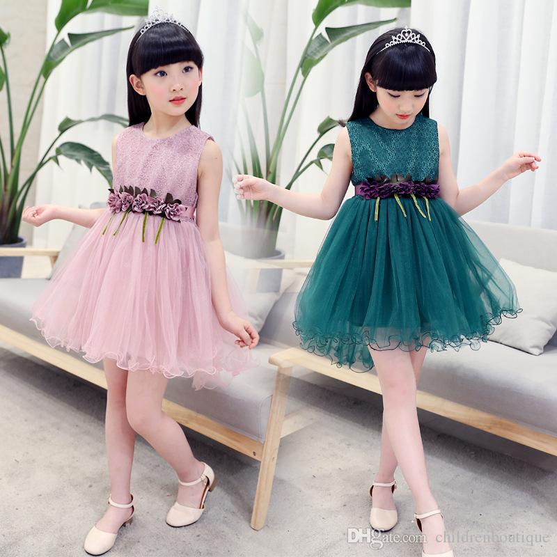 2019 Kids Children Clothes 2018 Summer Fashion Sleeveless Girls Dresses  Kids Girls Sweet Lace Flower Party Princess Dress For Girl 2 12T From