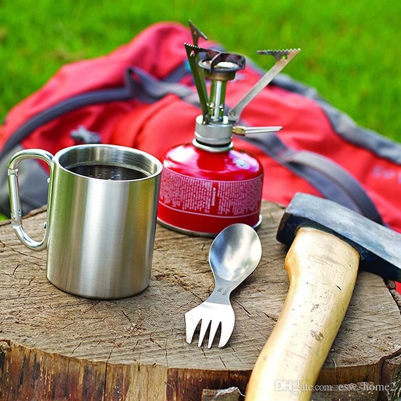 220ml Outdoor Camping Cup Stainless Steel Caminhadas Picnic Viajando água ao ar livre copos Prático Camping Caneca Louça Ferramenta