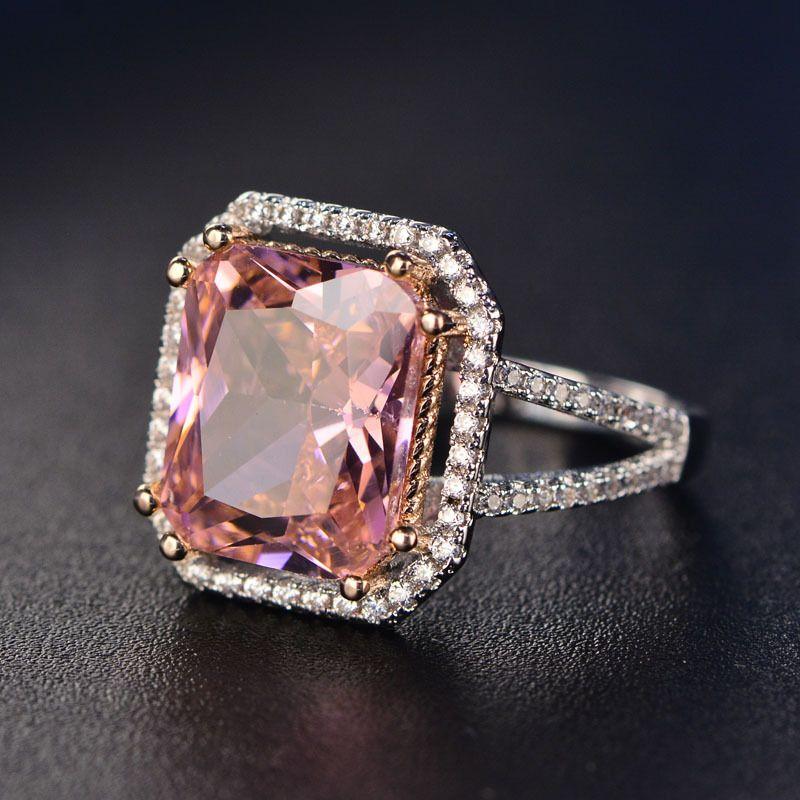 S925 Anillos Para Mujeres Plata Esterlina Rosa Gran Cuadrado Topacio Diamante Joyería Fina Nupcial Anillo de Compromiso de Boda de Lujo Bijoux Y18102510