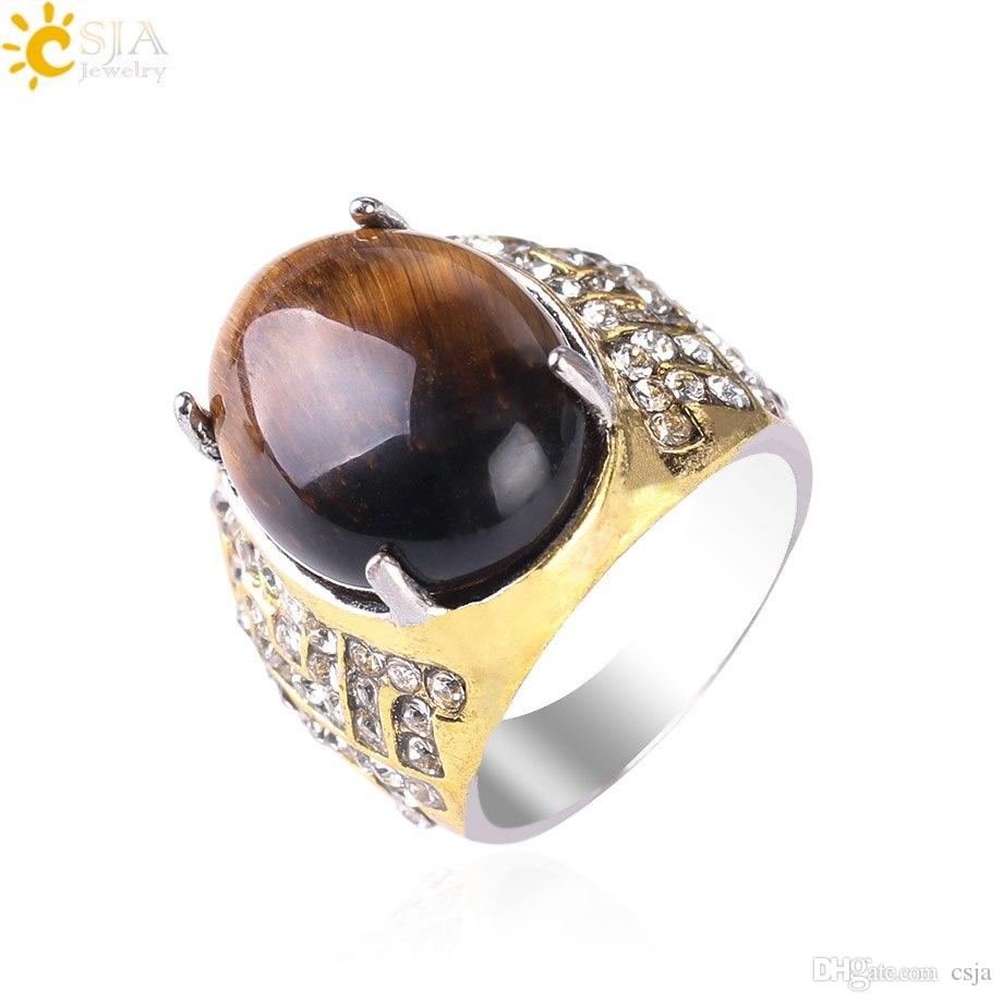 CSJA CZ Diamond Rings for Men Women Natural Tiger Eye Oval Gemstone Bling Jewelry 20pcs Wholesale Factory Price Handmade Gold Ring S113