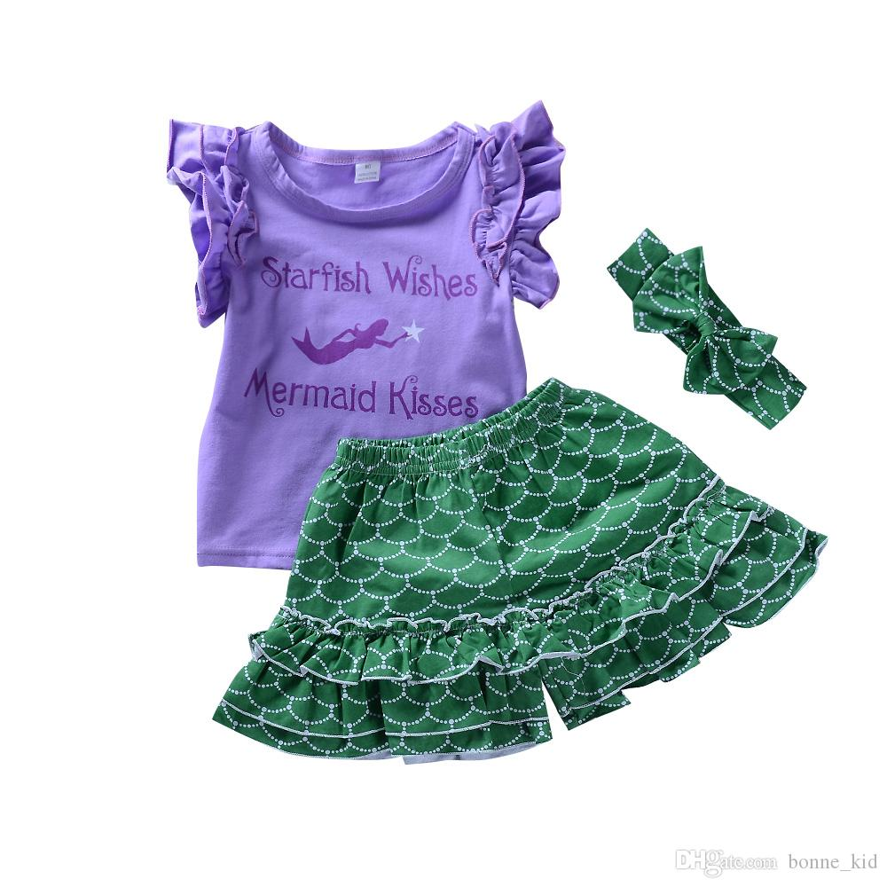 Toddler Girls Child Mermaid Clothes Outfits Kids Baby Costume Headband 3Pcs Set