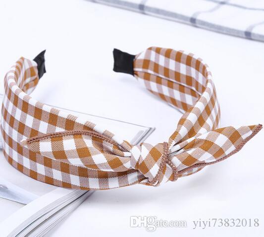 Yeni saç hoop bez sanat geniş kenar saç tokası ekose kravat kafa çember küçük yay saç aksesuarları toptan