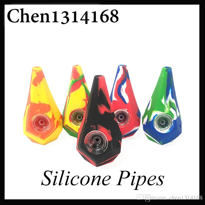 Diamond Silicone Smoking Pipes Water Hookah Bong Portable Hand Pipes With galss Bowl VS twisty glass blunt 0266199-2