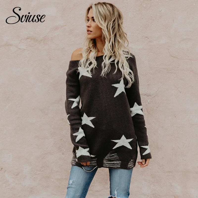 Women's Loose Sweater Sexy Off the Shoulder Stars Knitted Pullovers 2018 Female Korean Harajuku Casual Streetwear Long Sweaters C18110601