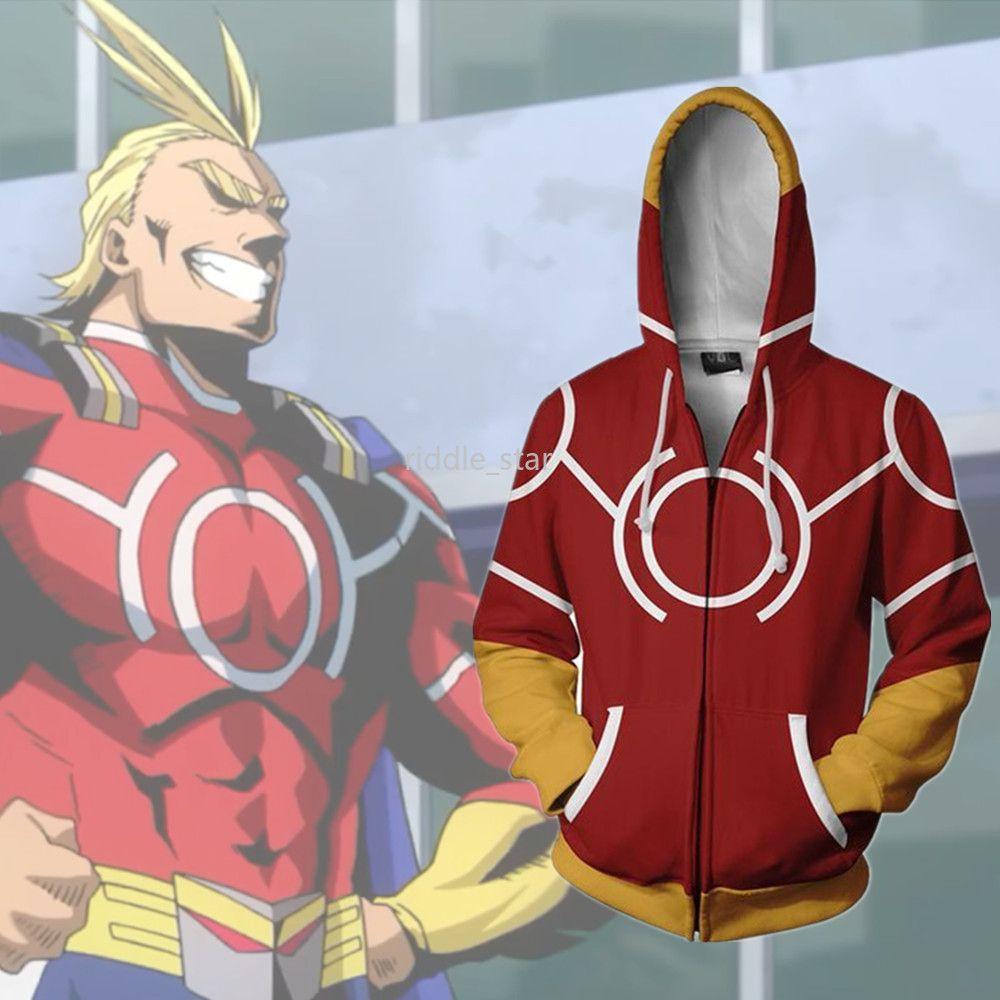 Asya Boyutu Japonya Anime Boku My Hero Academia Tüm Might Cadılar Bayramı 3D Fermuar Cosplay Kostüm Uzun Kollu Ceket Gevşek Coat Hoodie