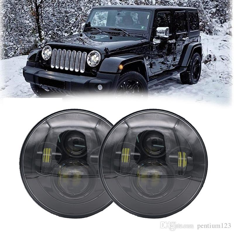 60W 7inch LED Headlight for Jeep Wrangler JK Headlamp with Halo Angel Eye & Turn Signal Lights & DRL