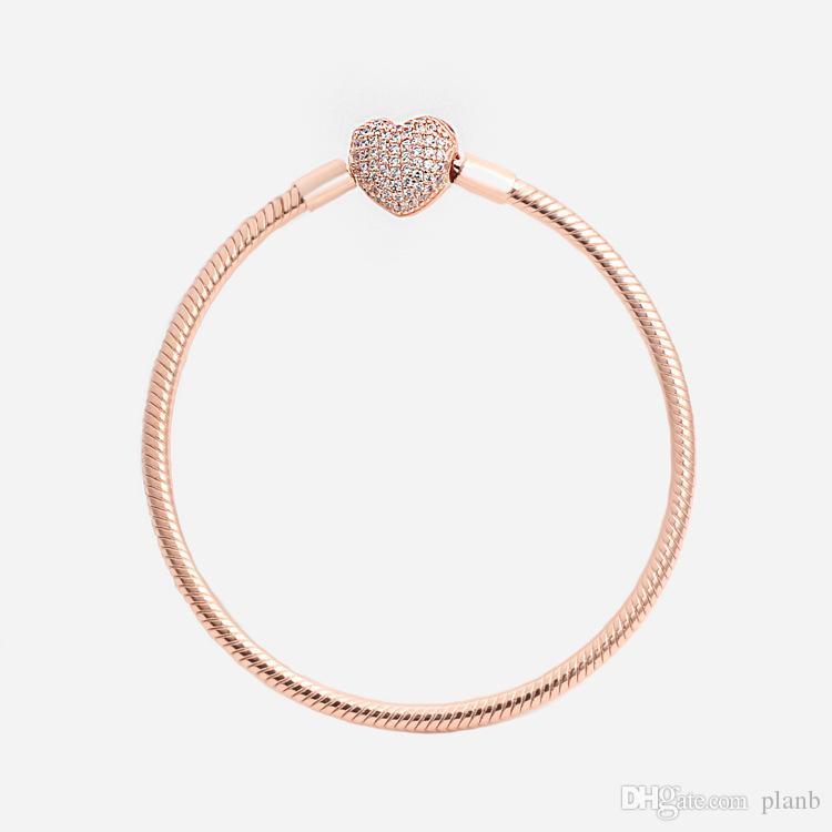 럭셔리 패션 18K 로즈 골드 CZ 다이아몬드 하트 팔찌 판도라 925 실버 스무스 체인 팔찌 원래 상자