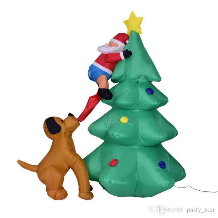 Height 1.8M Christmas Party Inflatable Christmas Tree Decoration Funny Design The Dog Bit Santa Claus