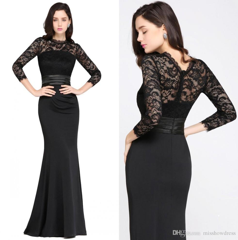 Designed Mermaid Long Sleeves Burgundy Mother Dresses 2018 Satin Lace Jewel Neck Zipper Back Floor Length Evening Dresses 100% Real Image