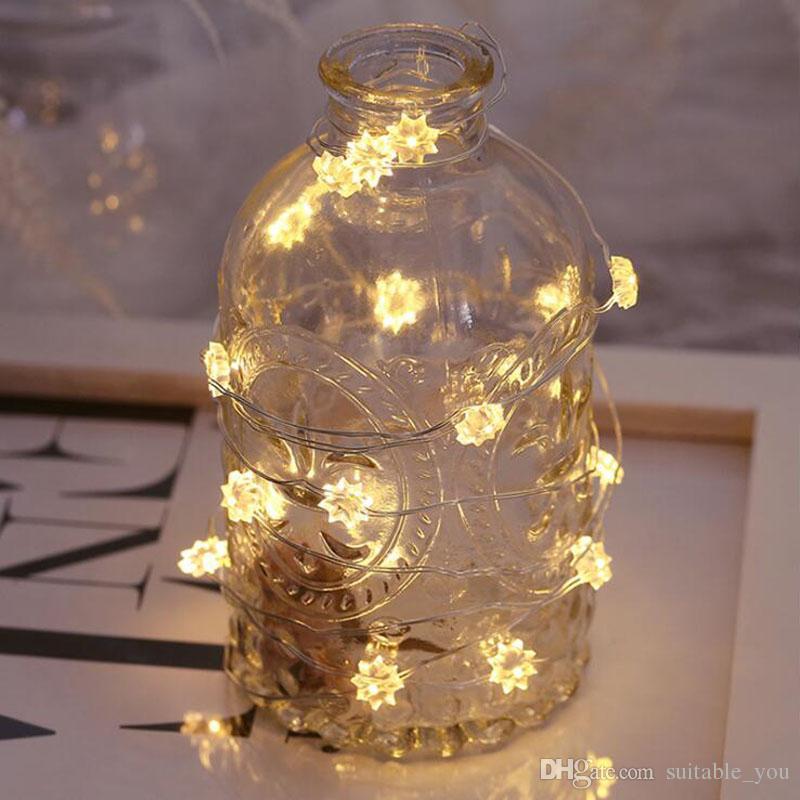 MOQ:5PCS Christmas Lamp String Copper Wire Bottle Lights Heart Star Flower 3m 30LED Lamps Festival Supplie For Party Decoration