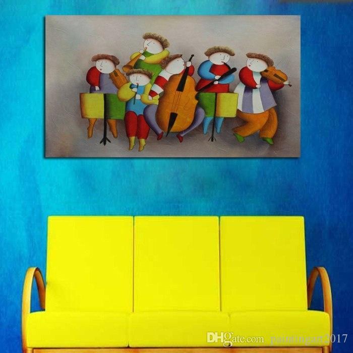 2018 Beste neue 100% handgemachte Ölgemälde Konzert Spielen Kunst Bilder Hohe Qualität Dekorative Wand Bild Auf Leinwand Home Decor