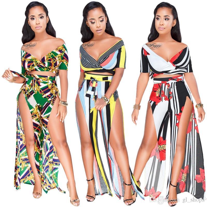 2018 nuove donne calde di moda 2pcs donne set stampa floreale profondo scollo av manica corta magliette lunghe split pantaloni aderente sexy boho beach wear