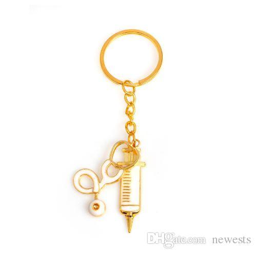 السماعة حقنة المفاتيح 2 أنماط المعادن الذهب الإمدادات الطبية كيرينغ مفتاح سلسلة للأطباء ممرضة مجوهرات التخرج هدية