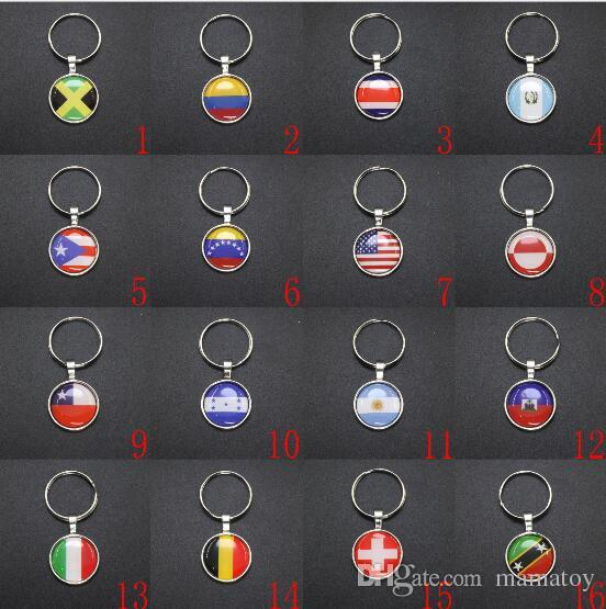 World Cup metal key chain fans gifts Strong 32 Counties Soccer KeyChains Souvenir National Flag Football Pendant Key rings