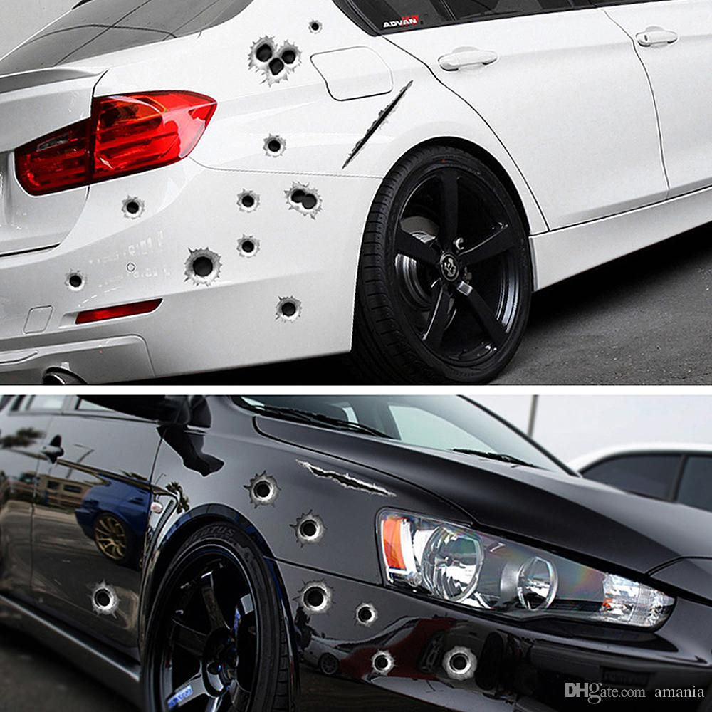 2020 Car Side Stickers Funny Decal Car Covers Accessories Graphics Auto Motorcycle Decoration Sticker 3d Bullet Hole Car Styling From Amania 1 49 Dhgate Com