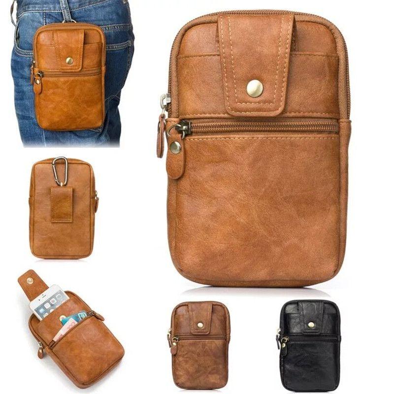 Genuine Leather Vintage Waist Bag Travel Fanny Pack Belt Clip Loops Hip Bum Hiking Hook Bag Pocket Men Mobile Phone Pouch EEMIA