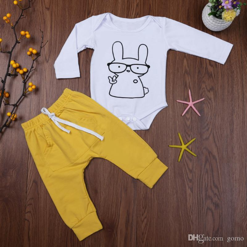 Kids Autumn Clothing Set Baby Boys Girls Long Sleeve Cartoon Rabbit Print Jumpsuit + Pants Outfits Infant 2pcs Clothes Set