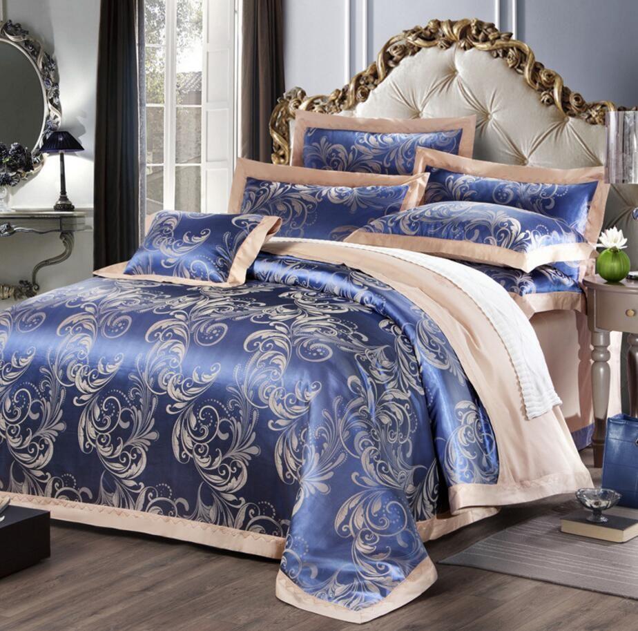 블루 화이트 골든 킹 퀸 사이즈 웨딩 홈 섬유 침구 세트 새틴 코튼 자카드 이불 커버 세트 침대 시트 Pillowcases