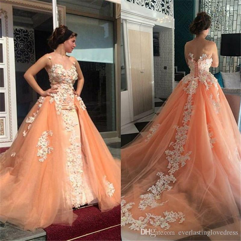 Illusion High Neck Peach Color Lace Appliqued Ball Gown Prom Dress With Detachable Train Vintage Ball Gowns