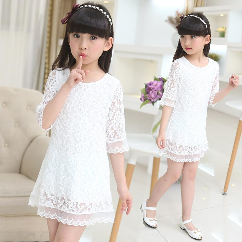 Kids 2018 new summer autumn lace dress white large size girls dress princess 3 4 6 8 10 12 14 16 18 years old baby girl clothes