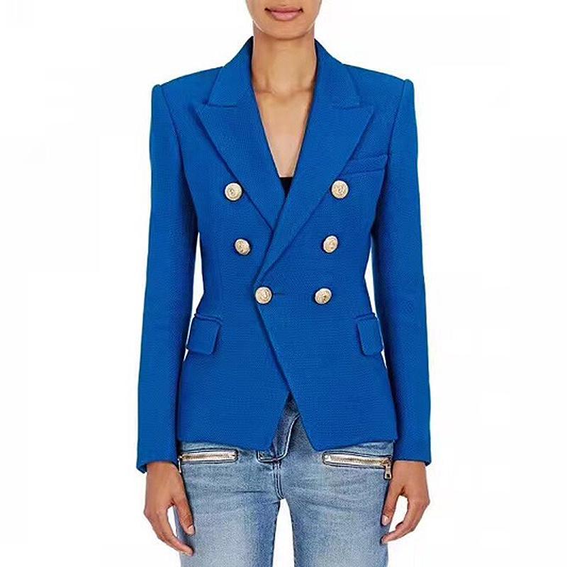 HAUTE QUALITÉ récent baroque Blazer femmes Boutons en métal Lion Double Blazer croisé Taille de veste S-XXL