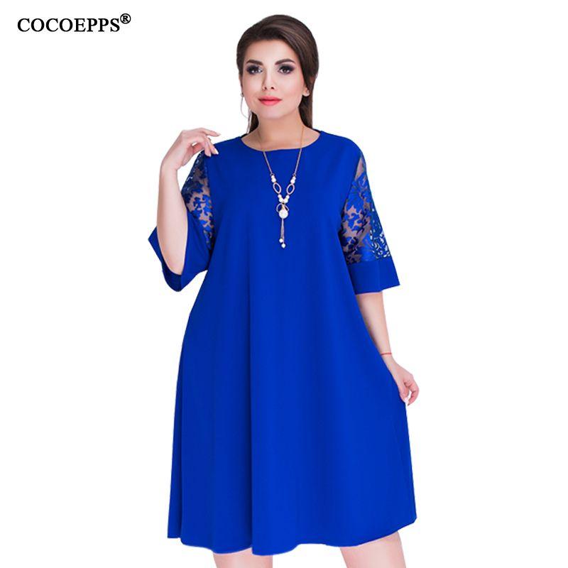 COCOEPPS Loose Lace summer Dresses big size 2018 Plus Size women Knee-Length office dress vintage vestidos L-6XL green dressY1882302