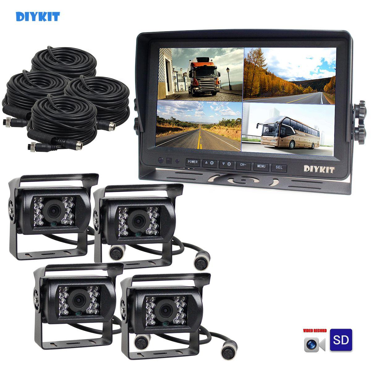 DIYKIT AHD 9Inch Split QUAD Car Monitor 960P AHD IR Night Vision Rear View Camera Waterproof with SD Card Video Recording