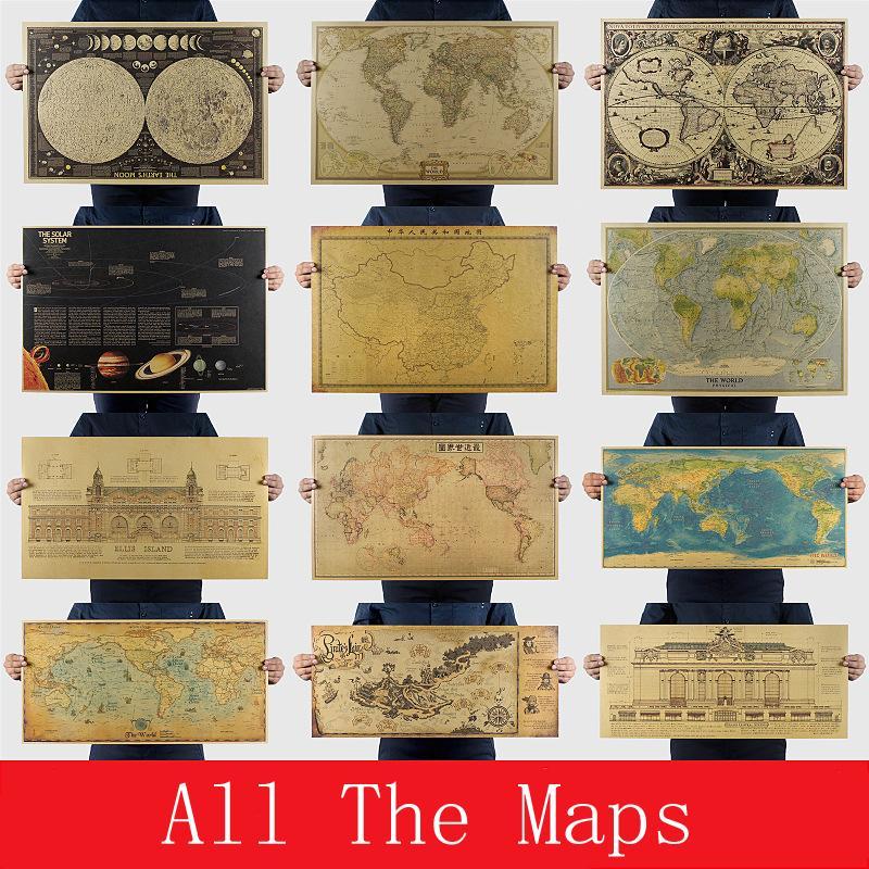 Toda la colección de mapas Vintage Retro Papel Tierra Luna Marte Cartel Cuadro de pared Decoración del hogar Etiqueta de la pared
