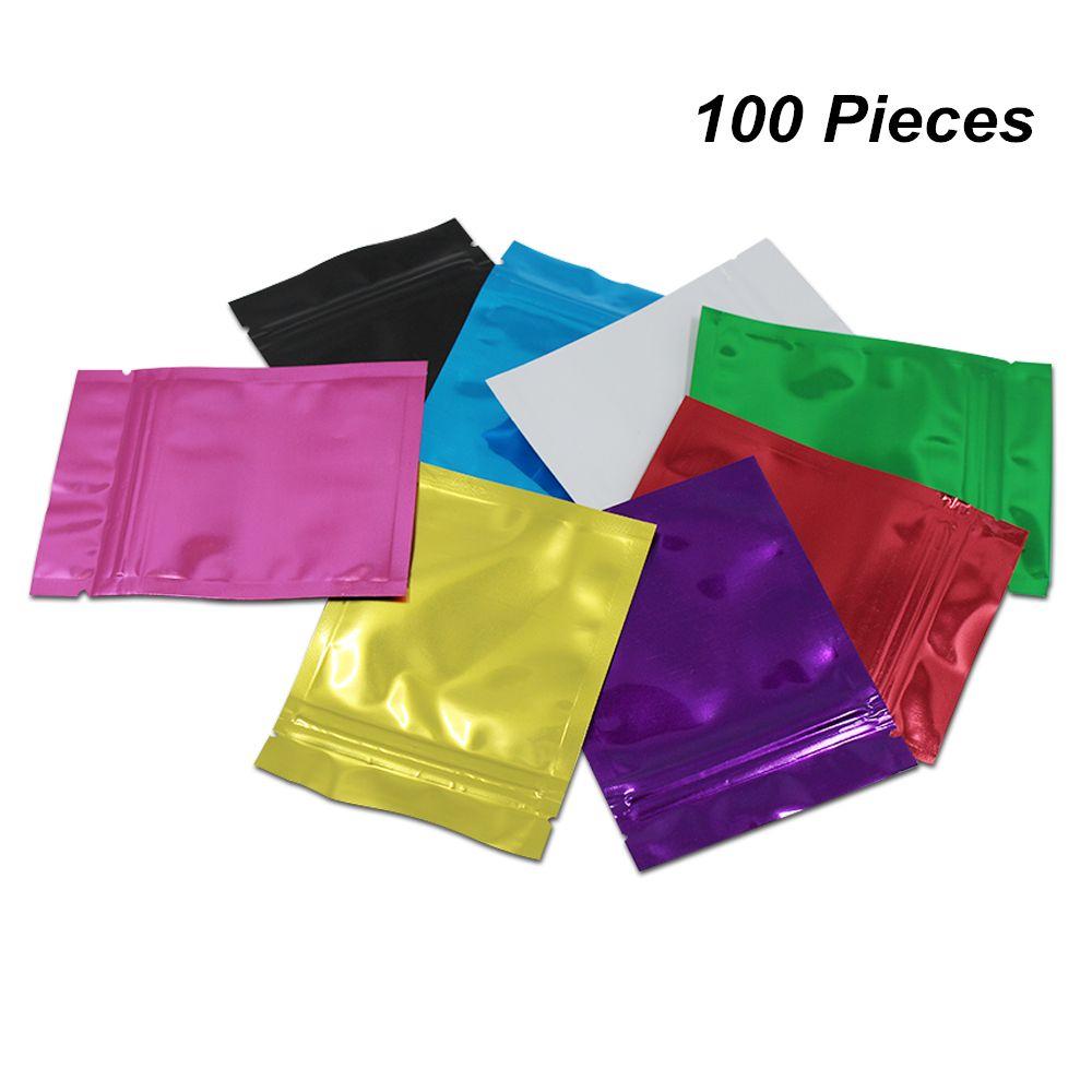 7x10cm красочные 100 шт алюминиевая фольга мешок для хранения пищевых продуктов фольга майлар молния Термосваривание кофе чай порошок мешок майлар мешочки с насечкой