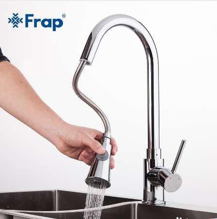 Frap nouveau 1 ensemble Pull Out cuisine Chrome évier mitigeur robinet pivotant évier robinet évier pivotant cuivre robinets de cuisine robinet F6052