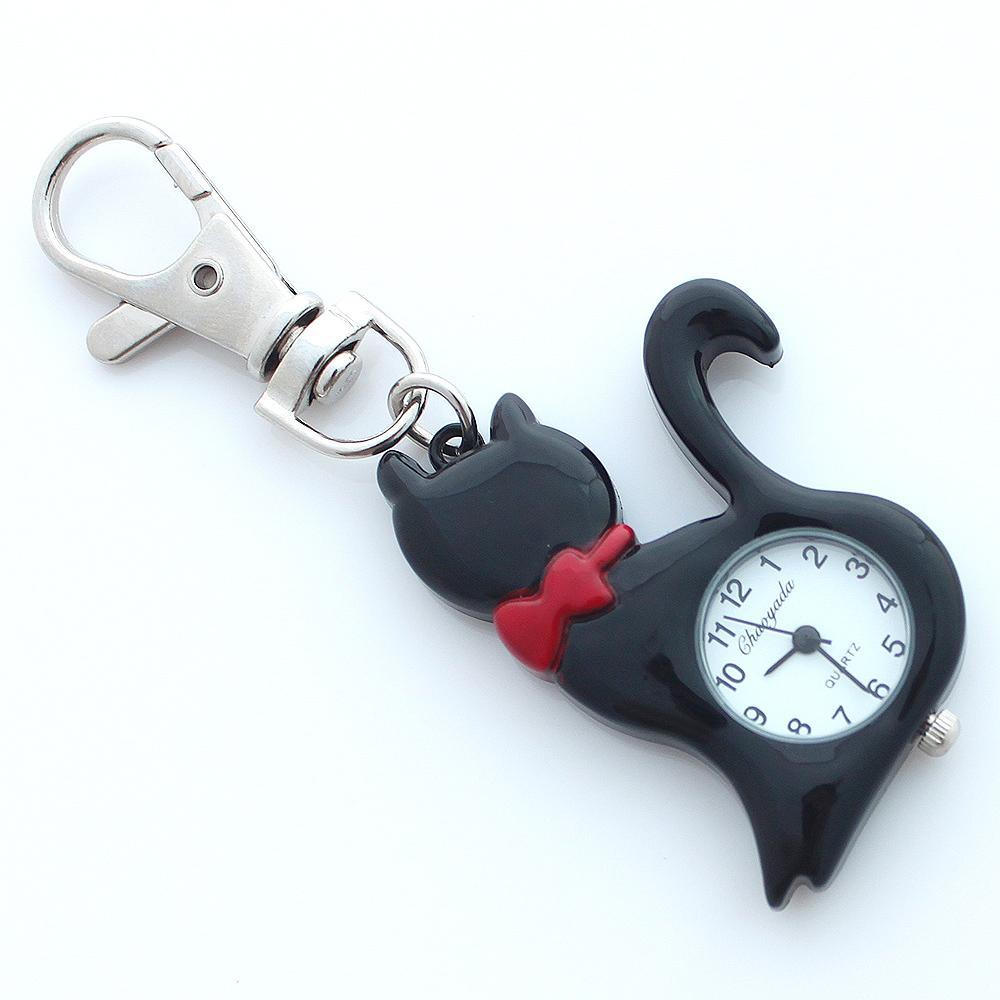 ماركة أزياء جميلة القط الحيوانات الأليفة ووتش أطفال بنات بوي KeyringWatch الجيب قلادة مفتاح الدائري سلسلة كوارتز اللباس ووتش + هدية حقيبة GL58K