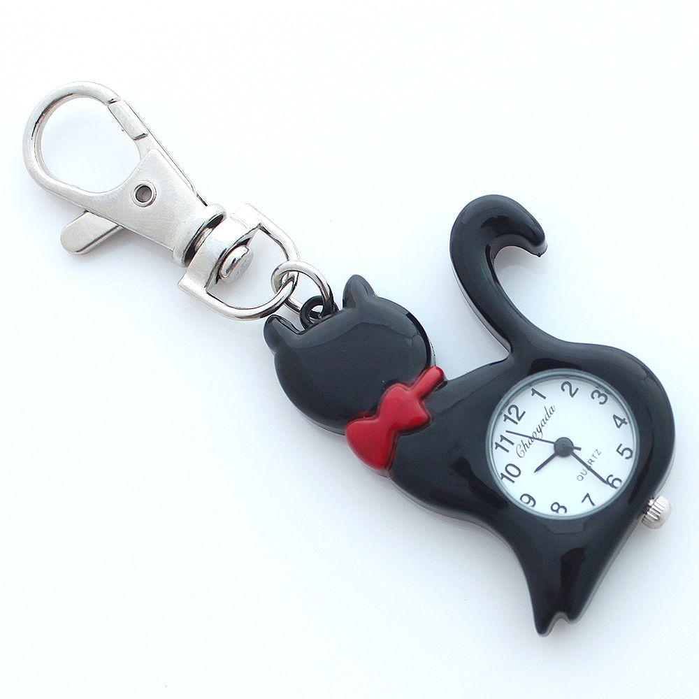 Marka Marka Piękny Pet Cat Watch Dzieci Dziewczyny Boy KeyRingwatch Kieszonkowy Wisiorek Key Chain Łańcuch Kwarcowy Dress Watch + Gift Bag GL58K
