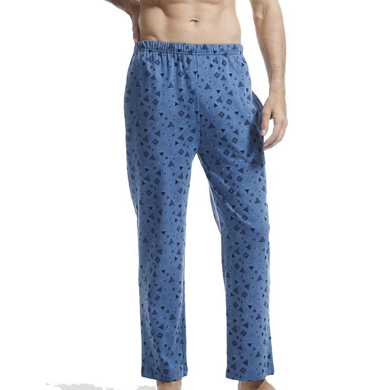 THREEGUN 100% Algodão Mens Sleep Bottoms Simples Sleepwear Impresso Lounge Calças Pura Pijama Masculino Plus Size Sexy Pijama Hombre