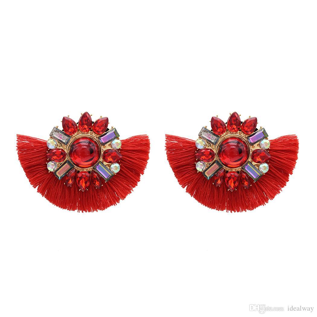 Boemia 4 colori grande fiore acrilico breve nappa goccia ciondola gli orecchini eleganti orecchini nappe per le donne