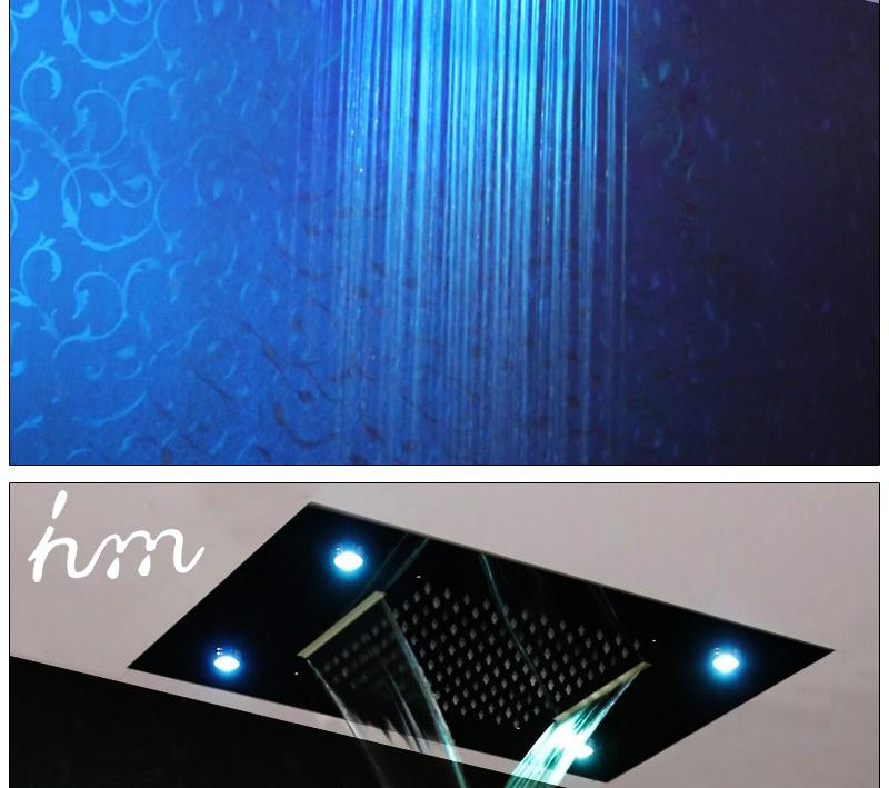 Waterfall LED Shower Faucet Set Contemporary Bathroom Rain Shower Head Side Spray Large Water Flow Bath Valve (7)