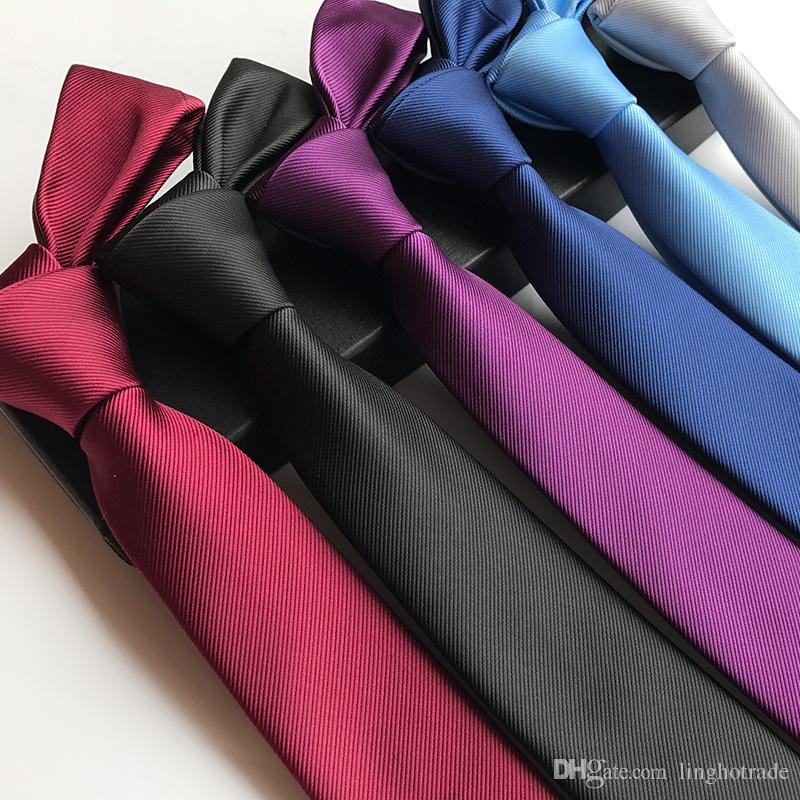 패션 뜨거운 판매 실크 클래식 스키니 6cm 남성 넥타이 캐주얼 남성 비즈니스 넥타이 솔리드 넥타이 착용
