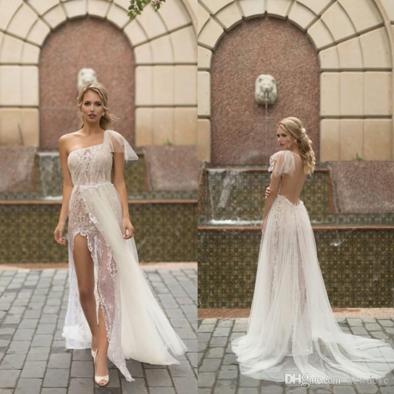 Naama One Shoulder Wedding Dresses A Line With Lace Applique Bridal Gowns Backless Short Sleeve Sheer Neck Boho Wedding Dress