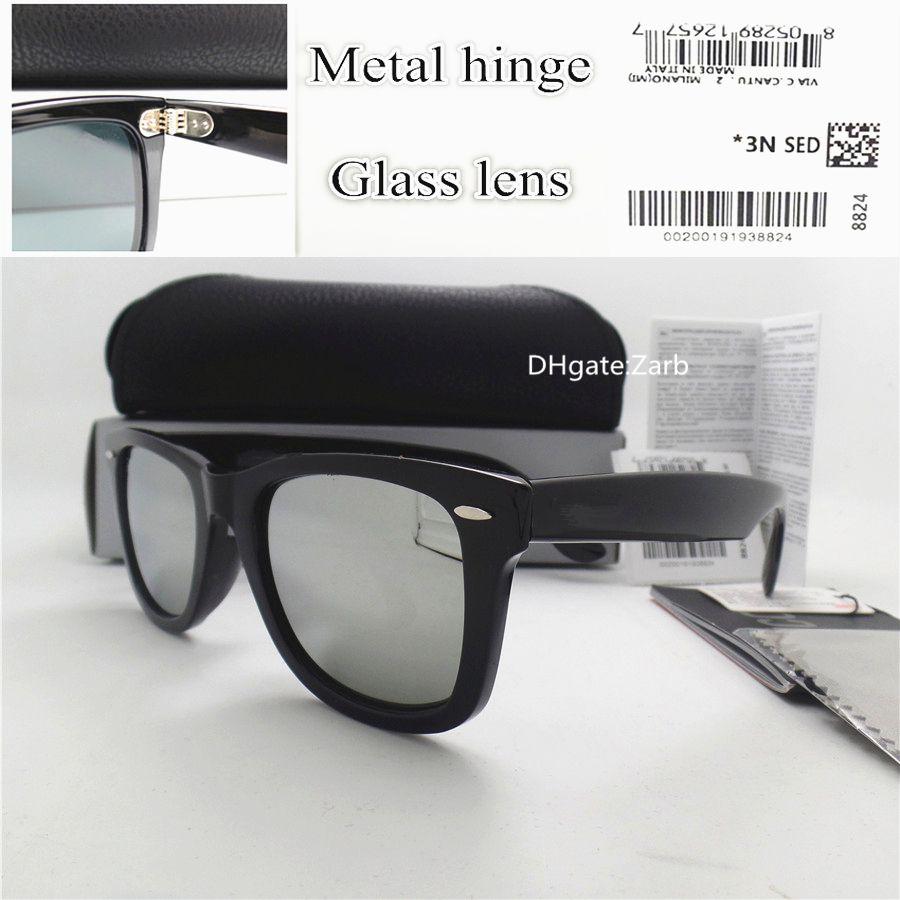 Top Quality Glass Lens Men Women Sunglasses UV400 Plank Frame Hinge Eyewear 52MM Unisex Vintage Tint Eyeglass Oculos Flat With Box Case