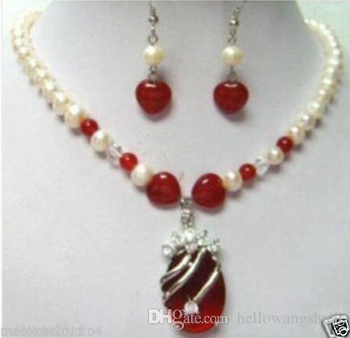 Gioielli di Charme! perla rossa giada monili stabiliti