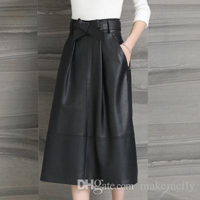2018 nueva moda genuina oveja falda de cuero H2