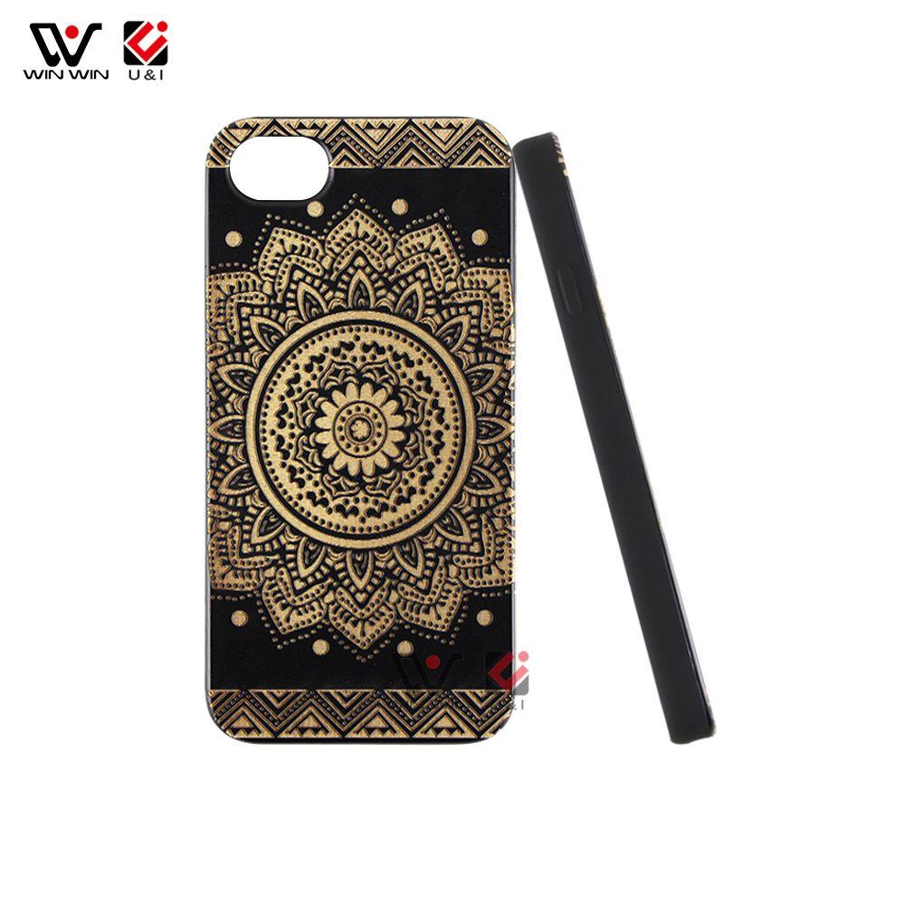 Estuche de madera para celular con flor negra y cerezo negro para iPhone 5 6 7 8 X XR XS Max