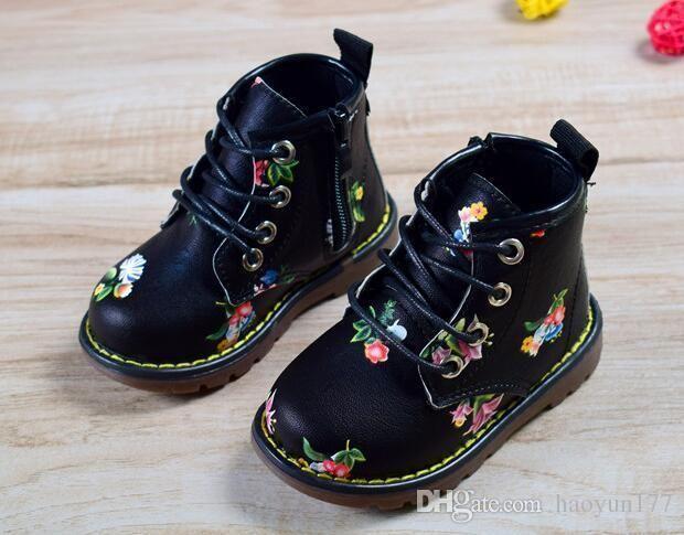 Black Floral Kids Boots