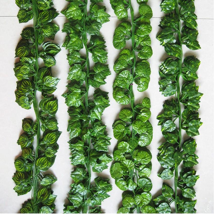 2.1M 12pcs 유선 아이비는 결혼 가정 Office Decoratiove 화환에 대한 화환 실크 인공 포도 나무 녹화를 단풍 2017 새로운 스타일