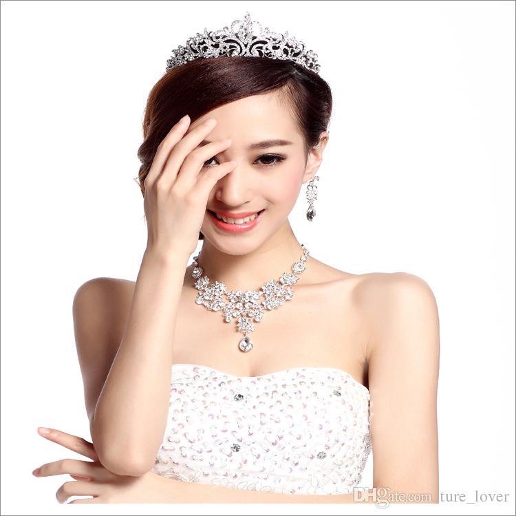 Venda quente Mulheres de noivado Jóias Jóias Nobre Crown Tiara Brincos De Colar De Casamento Nupcial Jóias Custume Decoração Acessórios