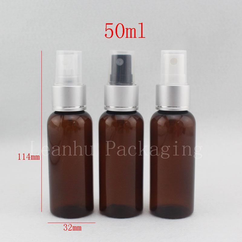 50ml X 50 marrone spray di plastica alluminio atomizador bottiglie di plastica, atomizzatore di profumo riutilizzabile, contenitore di bottiglie d'acqua