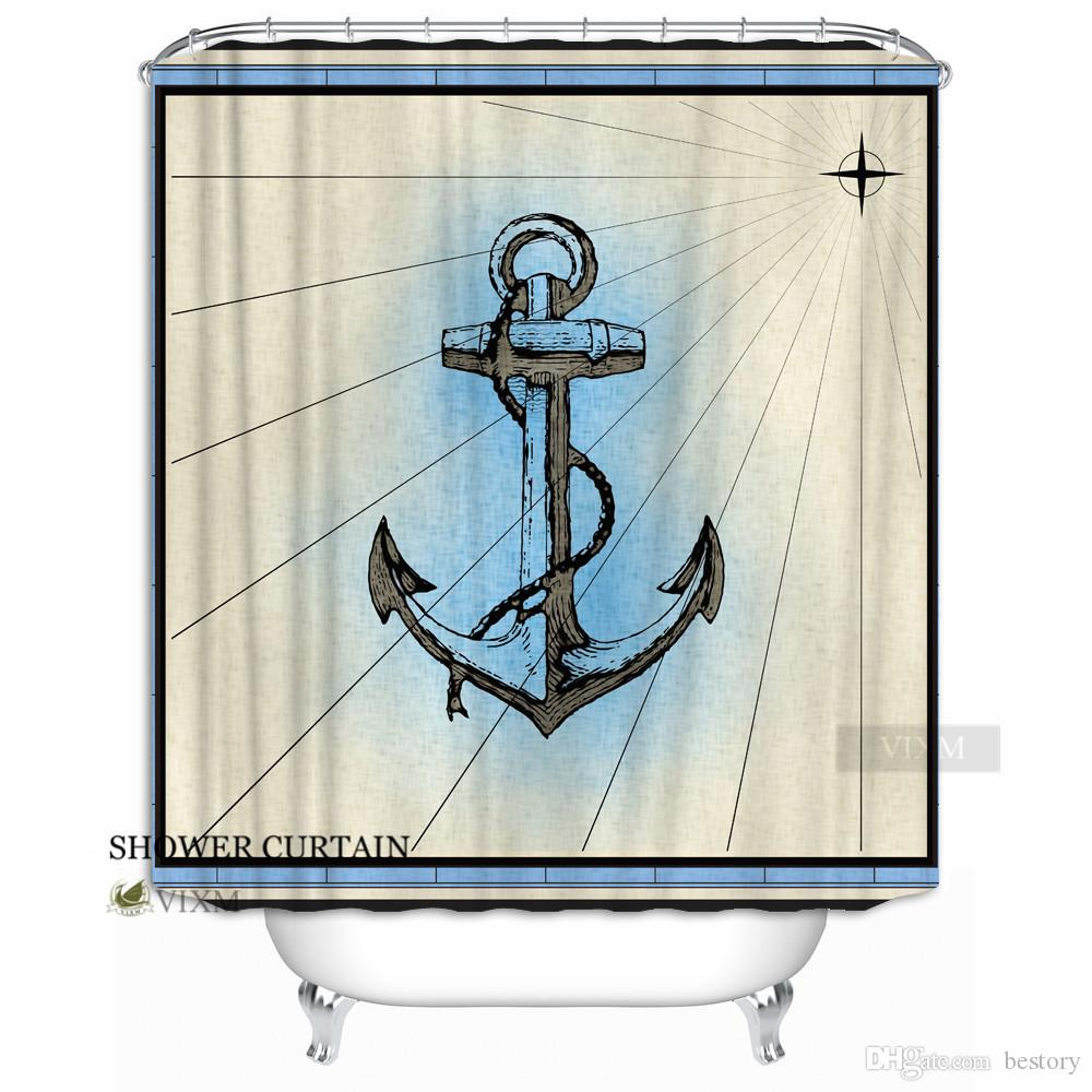"""Vixm Home Nautical Compass Fabric Shower Curtain Lighthouse and Ship Customization Bath Curtain for Bathroom With Hooks Ring 72"""" X 72"""""""