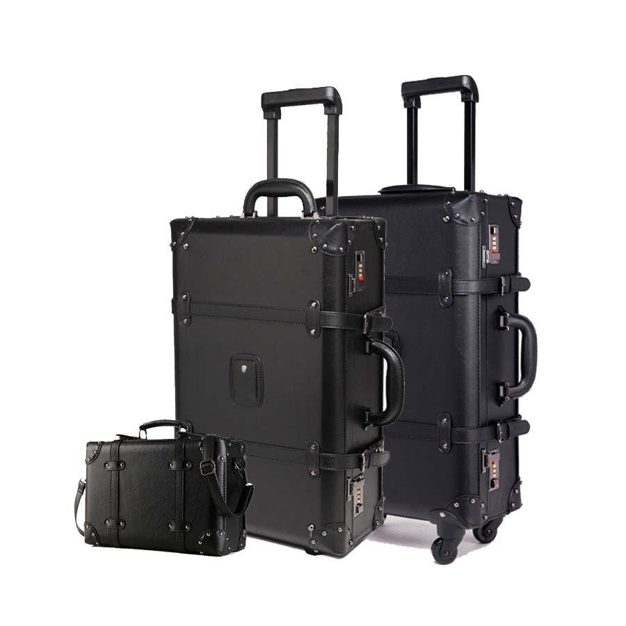 Ретро черный прокатки багажа набор Spinner женщин пароль тележки 24-дюймовый чемодан колеса 20 дюймов старинные кабины дорожная сумка багажник